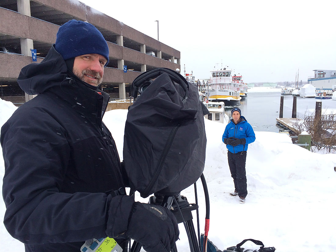 Weather Channel shoot in Portland Harbor